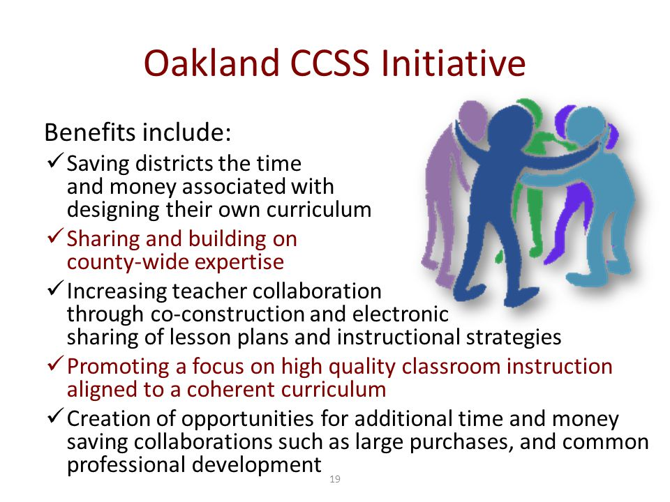 19 Oakland CCSS Initiative Benefits include: Saving districts the time and money associated with designing their own curriculum Sharing and building on county-wide expertise Increasing teacher collaboration through co-construction and electronic sharing of lesson plans and instructional strategies Promoting a focus on high quality classroom instruction aligned to a coherent curriculum Creation of opportunities for additional time and money saving collaborations such as large purchases, and common professional development