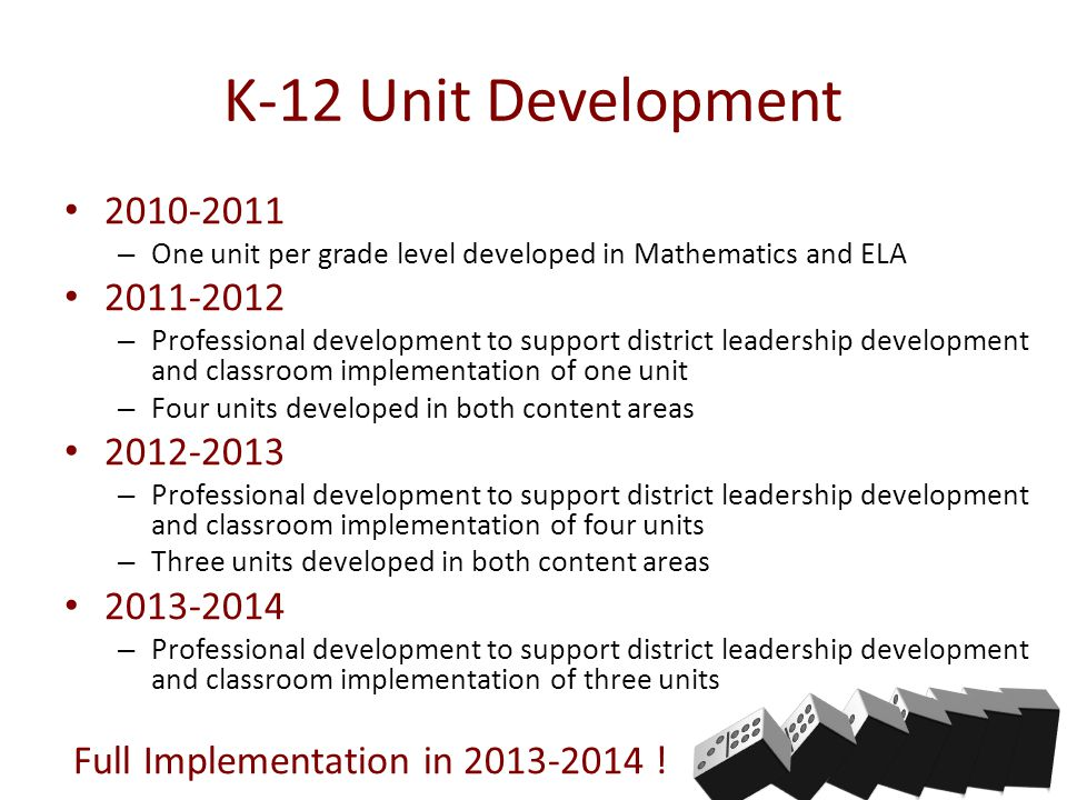 K-12 Unit Development 2010-2011 – One unit per grade level developed in Mathematics and ELA 2011-2012 – Professional development to support district leadership development and classroom implementation of one unit – Four units developed in both content areas 2012-2013 – Professional development to support district leadership development and classroom implementation of four units – Three units developed in both content areas 2013-2014 – Professional development to support district leadership development and classroom implementation of three units Full Implementation in 2013-2014 !