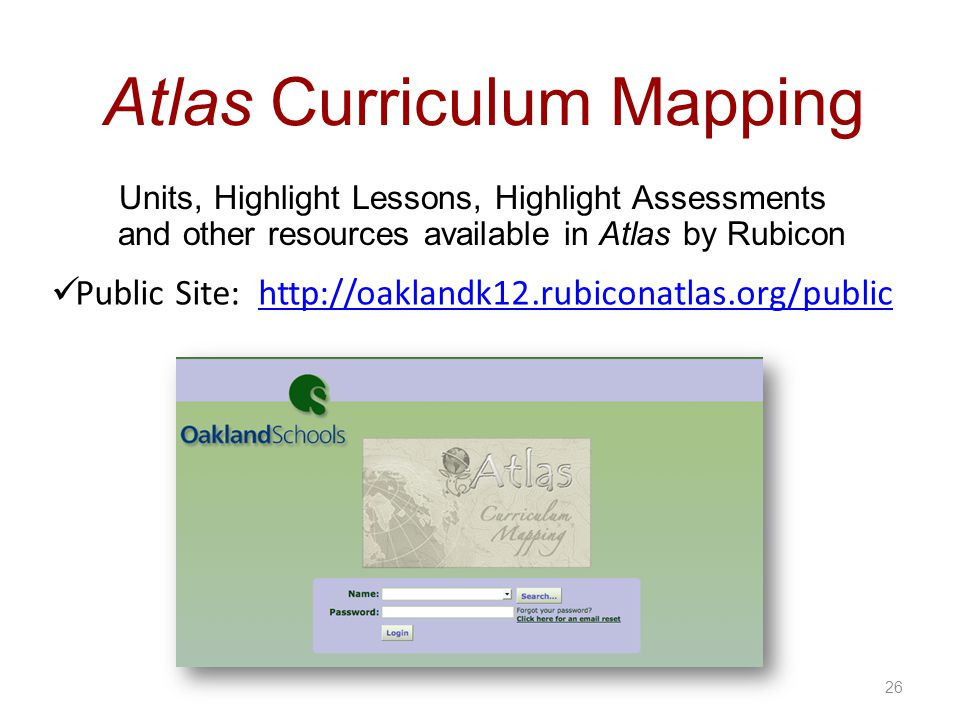 26 Atlas Curriculum Mapping Units, Highlight Lessons, Highlight Assessments and other resources available in Atlas by Rubicon Public Site: http://oaklandk12.rubiconatlas.org/publichttp://oaklandk12.rubiconatlas.org/public