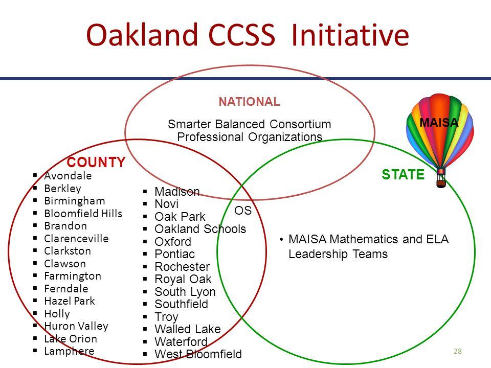 Oakland CCSS Initiative 28 NATIONAL Smarter Balanced Consortium Professional Organizations MAISA Mathematics and ELA Leadership Teams OS  Avondale 