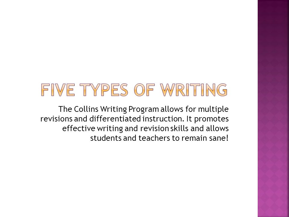The Collins Writing Program allows for multiple revisions and differentiated instruction. It promotes effective writing and revision skills and allows