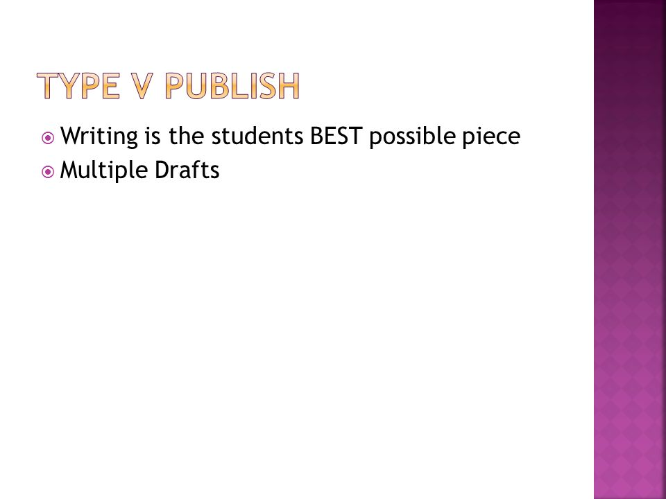  Writing is the students BEST possible piece  Multiple Drafts