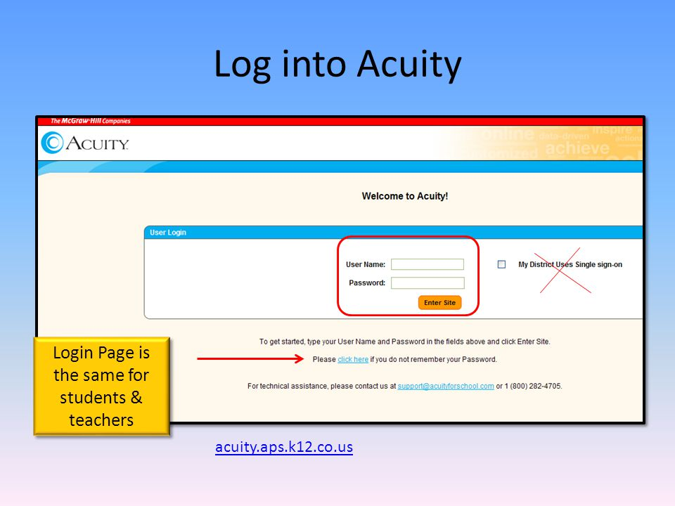 Log into Acuity acuity.aps.k12.co.us Login Page is the same for students & teachers