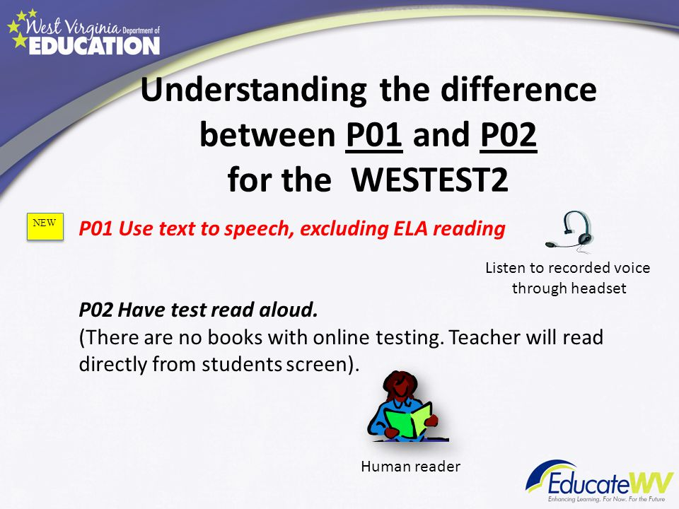 P01 Use text to speech, excluding ELA reading P02Have test read aloud.