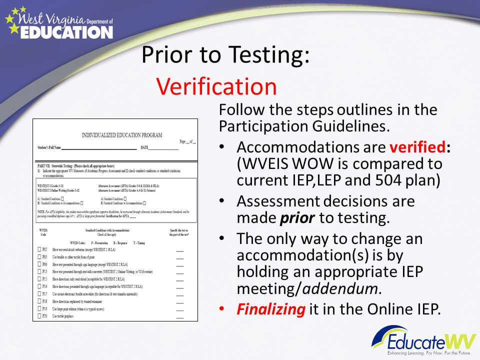 Prior to Testing: Verification Follow the steps outlines in the Participation Guidelines.