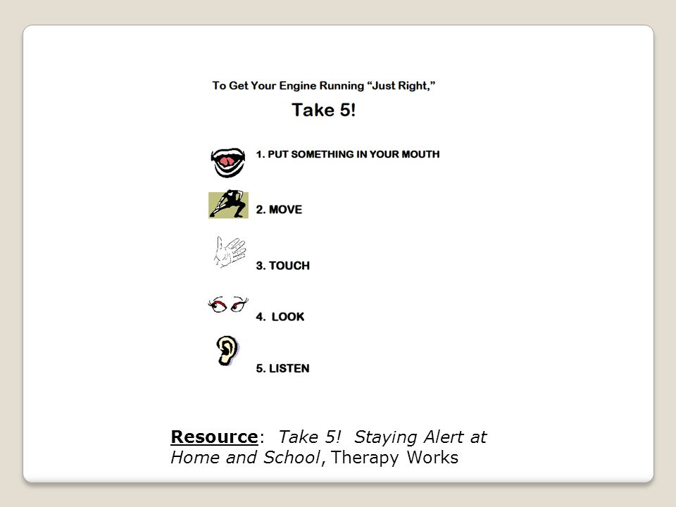 Resource: Take 5! Staying Alert at Home and School, Therapy Works
