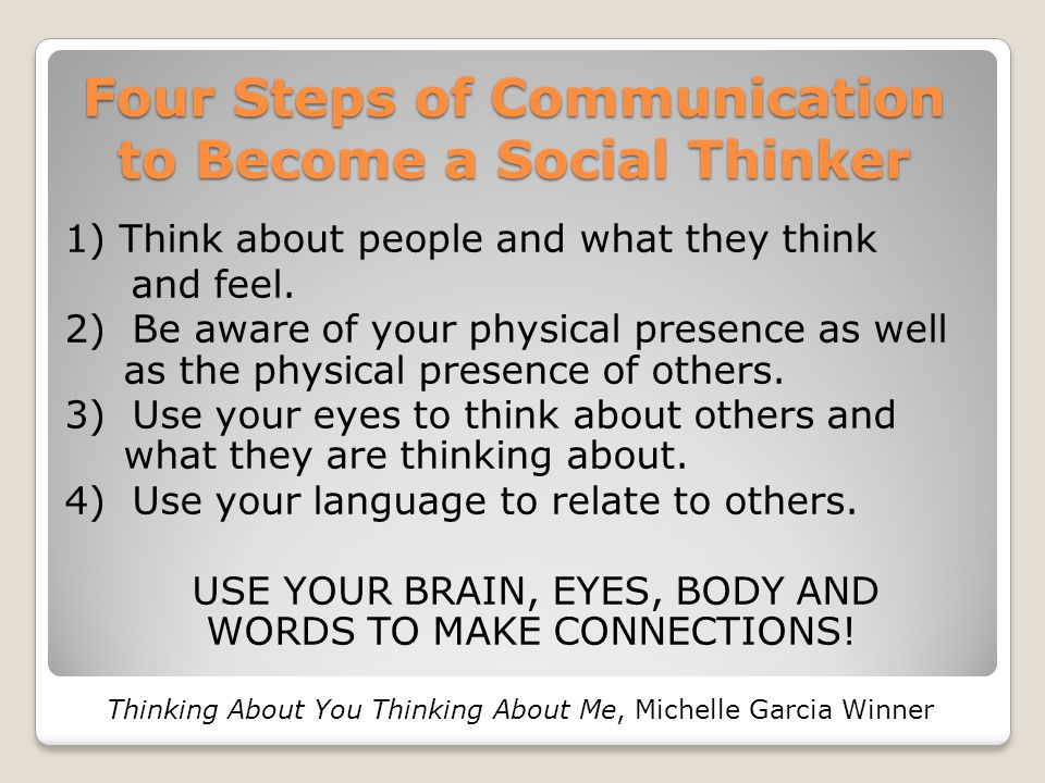 Four Steps of Communication to Become a Social Thinker 1) Think about people and what they think and feel. 2) Be aware of your physical presence as we