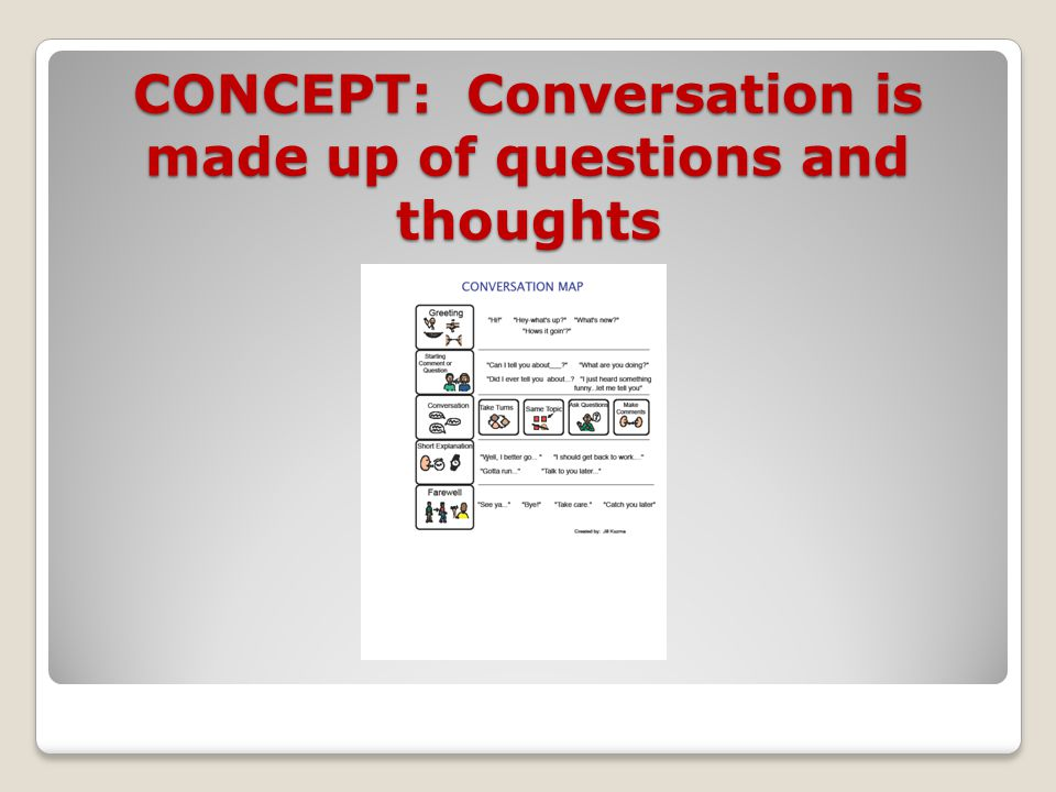 CONCEPT: Conversation is made up of questions and thoughts