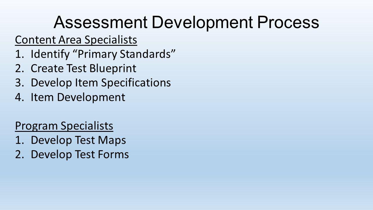 "Assessment Development Process Content Area Specialists 1.Identify ""Primary Standards"" 2.Create Test Blueprint 3.Develop Item Specifications 4.Item De"