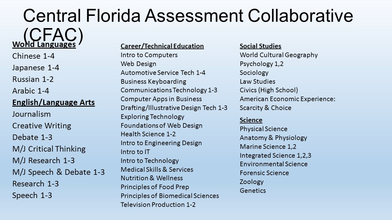 Central Florida Assessment Collaborative (CFAC) World Languages Chinese 1-4 Japanese 1-4 Russian 1-2 Arabic 1-4 English/Language Arts Journalism Creative Writing Debate 1-3 M/J Critical Thinking M/J Research 1-3 M/J Speech & Debate 1-3 Research 1-3 Speech 1-3 Career/Technical Education Intro to Computers Web Design Automotive Service Tech 1-4 Business Keyboarding Communications Technology 1-3 Computer Apps in Business Drafting/Illustrative Design Tech 1-3 Exploring Technology Foundations of Web Design Health Science 1-2 Intro to Engineering Design Intro to IT Intro to Technology Medical Skills & Services Nutrition & Wellness Principles of Food Prep Principles of Biomedical Sciences Television Production 1-2 Social Studies World Cultural Geography Psychology 1,2 Sociology Law Studies Civics (High School) American Economic Experience: Scarcity & Choice Science Physical Science Anatomy & Physiology Marine Science 1,2 Integrated Science 1,2,3 Environmental Science Forensic Science Zoology Genetics