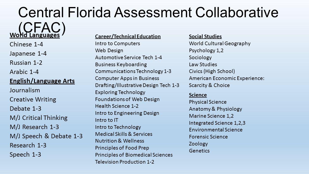 Central Florida Assessment Collaborative (CFAC) World Languages Chinese 1-4 Japanese 1-4 Russian 1-2 Arabic 1-4 English/Language Arts Journalism Creat