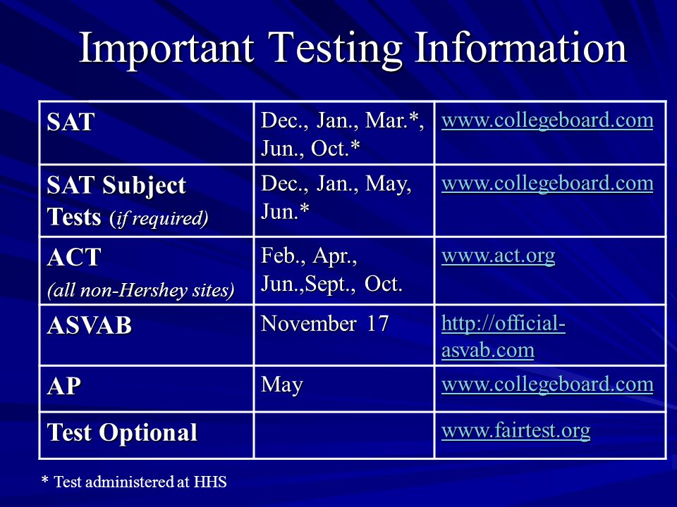 Important Testing Information SAT Dec., Jan., Mar.*, Jun., Oct.* www.collegeboard.com SAT Subject Tests (if required) Dec., Jan., May, Jun.* www.collegeboard.com ACT (all non-Hershey sites) Feb., Apr., Jun.,Sept., Oct.