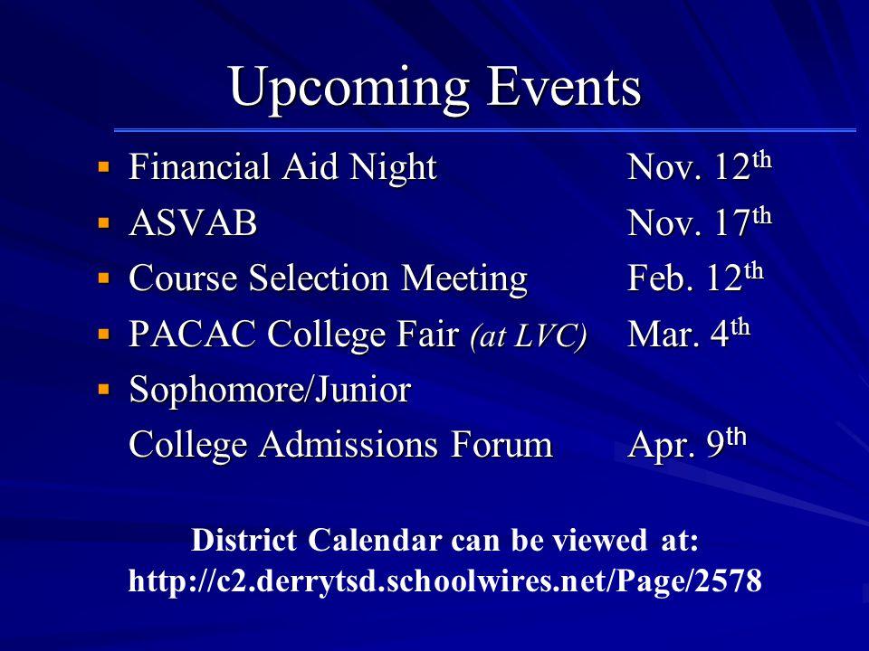 Upcoming Events  Financial Aid Night Nov. 12 th  ASVAB Nov.