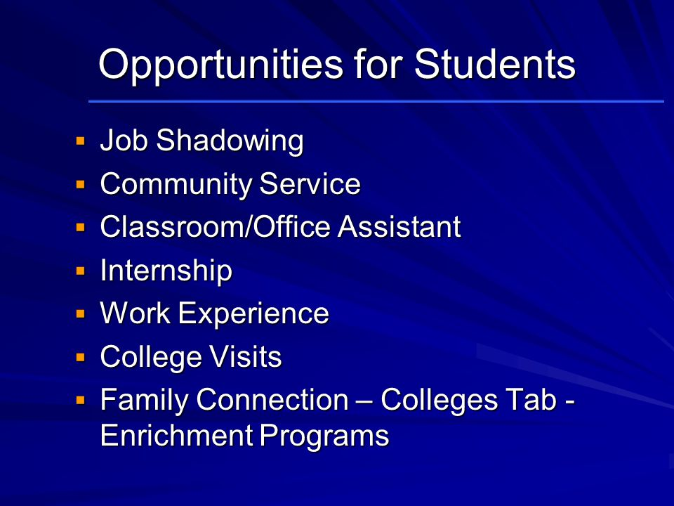 Opportunities for Students  Job Shadowing  Community Service  Classroom/Office Assistant  Internship  Work Experience  College Visits  Family Connection – Colleges Tab - Enrichment Programs