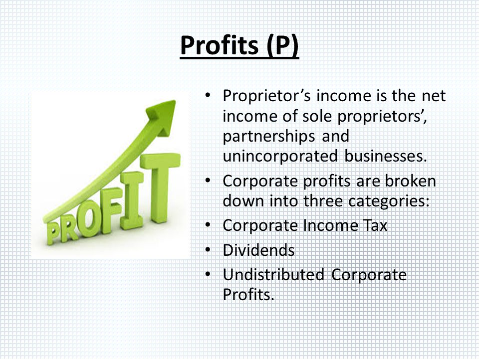 Profits (P) Proprietor's income is the net income of sole proprietors', partnerships and unincorporated businesses.