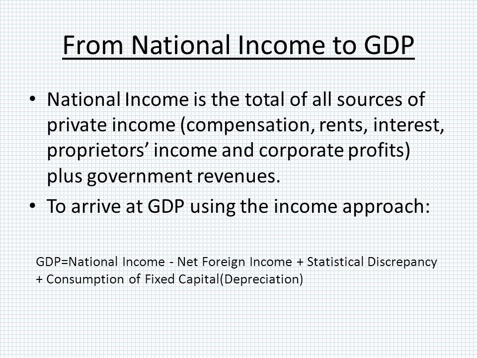 From National Income to GDP National Income is the total of all sources of private income (compensation, rents, interest, proprietors' income and corporate profits) plus government revenues.