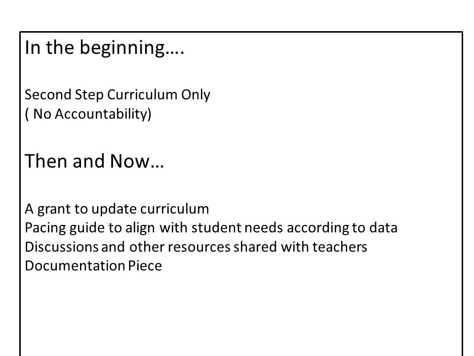 Second Step: Skills for Social and Academic Success Goals for Completion (Pre-K: Early Learning) Unit 1: Skills for Learning (September & October) Unit 2: Empathy (November & December) Unit 3: Emotion Management (January & February) Unit 4: Friendship Skills & Problem Solving (March & April) Unit 5: Transitioning to Kindergarten (May) * Goal is to teach and document at least 4 lessons per unit.