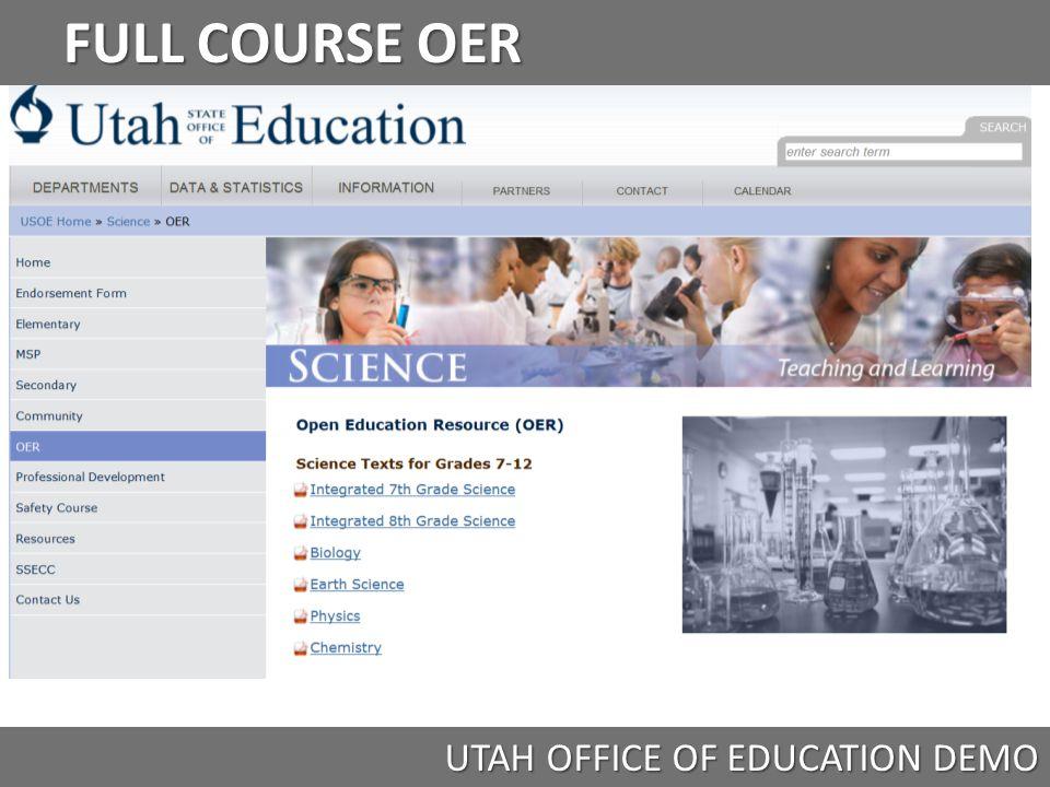 FULL COURSE OER UTAH OFFICE OF EDUCATION DEMO