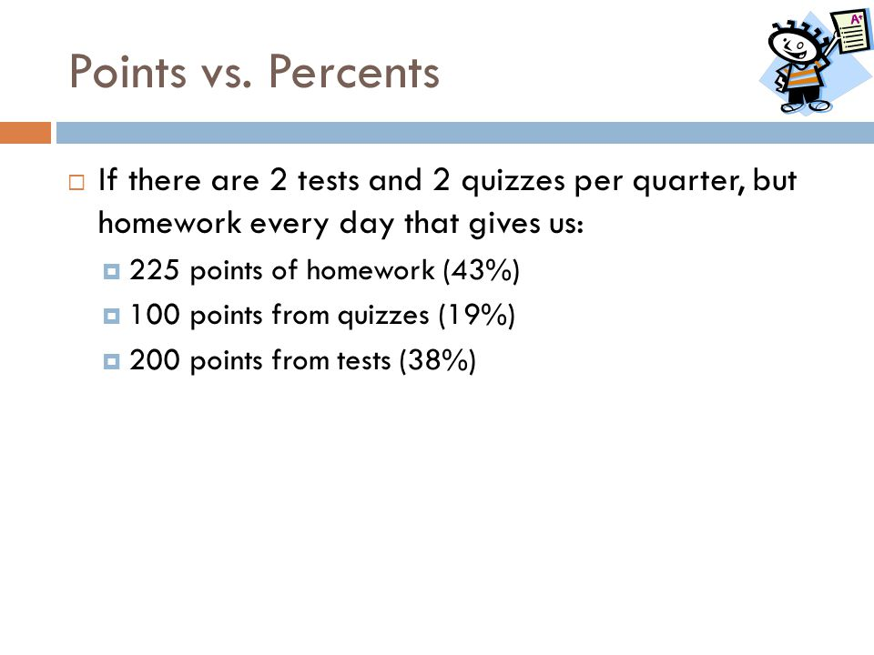 Points vs. Percents  If there are 2 tests and 2 quizzes per quarter, but homework every day that gives us:  225 points of homework (43%)  100 point