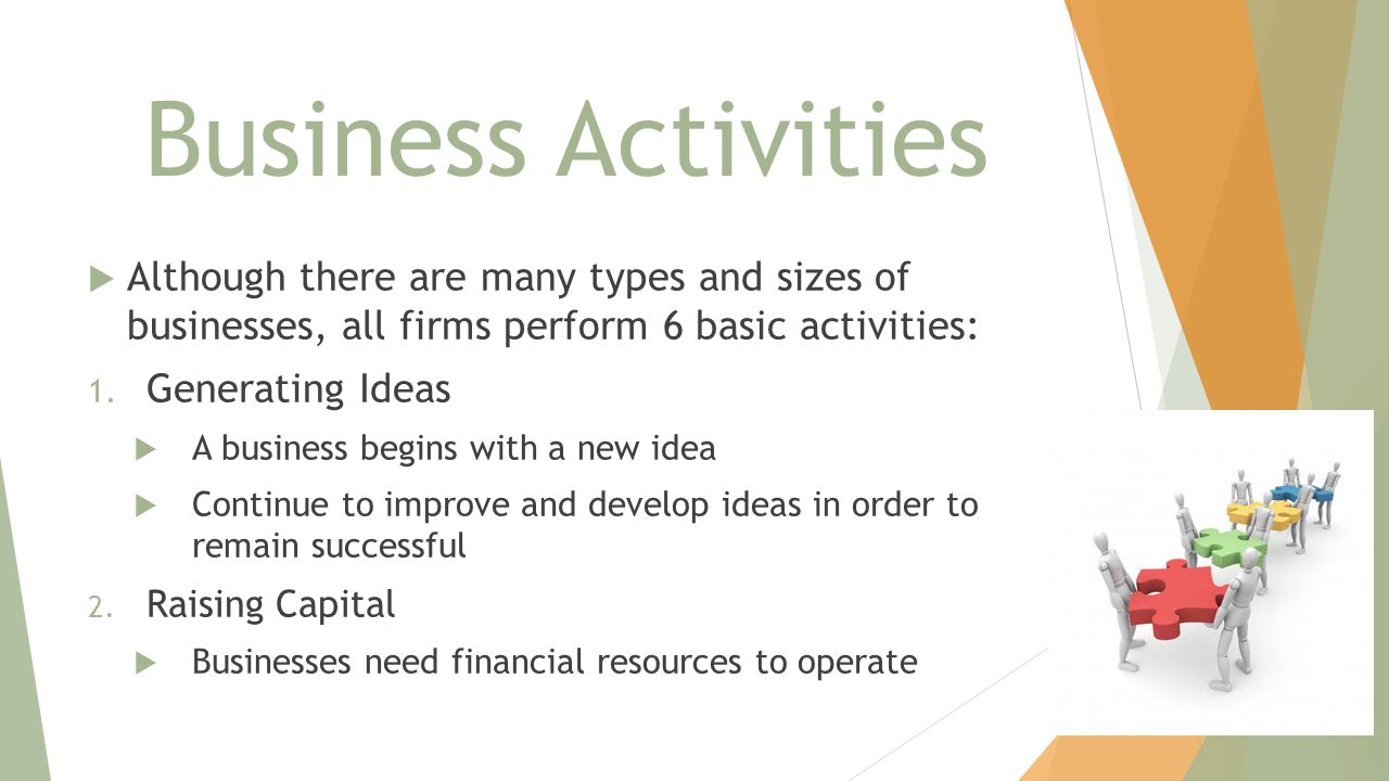 Business Activities  Although there are many types and sizes of businesses, all firms perform 6 basic activities: 1. Generating Ideas  A business be