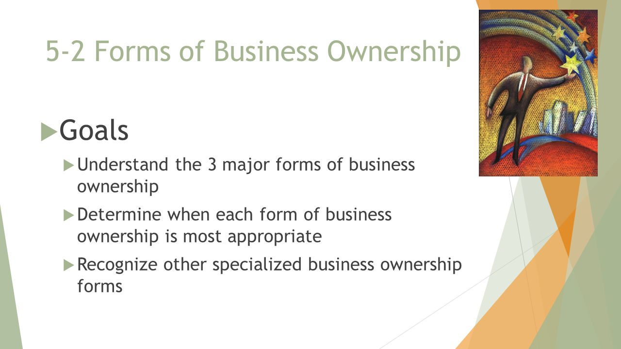 5-2 Forms of Business Ownership  Goals  Understand the 3 major forms of business ownership  Determine when each form of business ownership is most