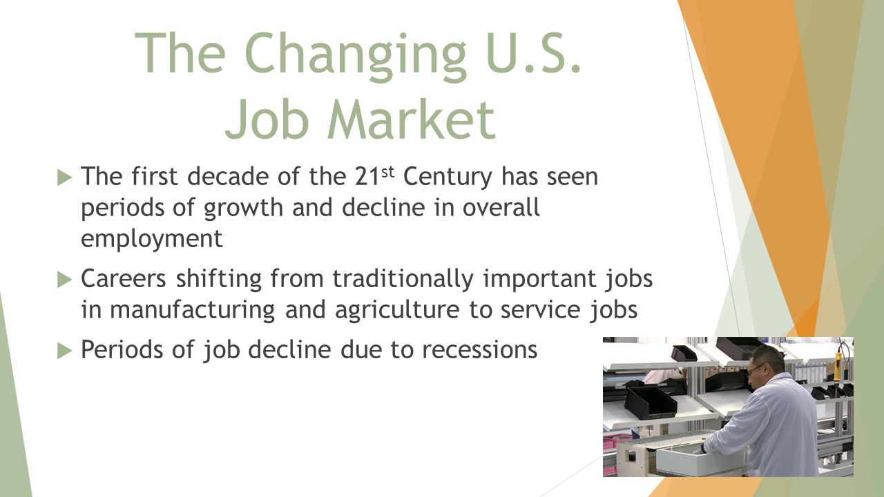 The Changing U.S. Job Market  The first decade of the 21 st Century has seen periods of growth and decline in overall employment  Careers shifting f