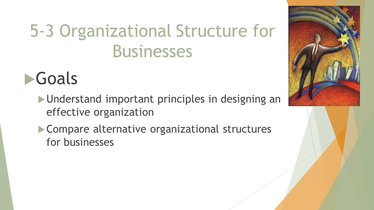 5-3 Organizational Structure for Businesses  Goals  Understand important principles in designing an effective organization  Compare alternative organizational structures for businesses