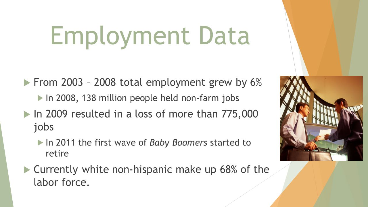 Employment Data  From 2003 – 2008 total employment grew by 6%  In 2008, 138 million people held non-farm jobs  In 2009 resulted in a loss of more than 775,000 jobs  In 2011 the first wave of Baby Boomers started to retire  Currently white non-hispanic make up 68% of the labor force.