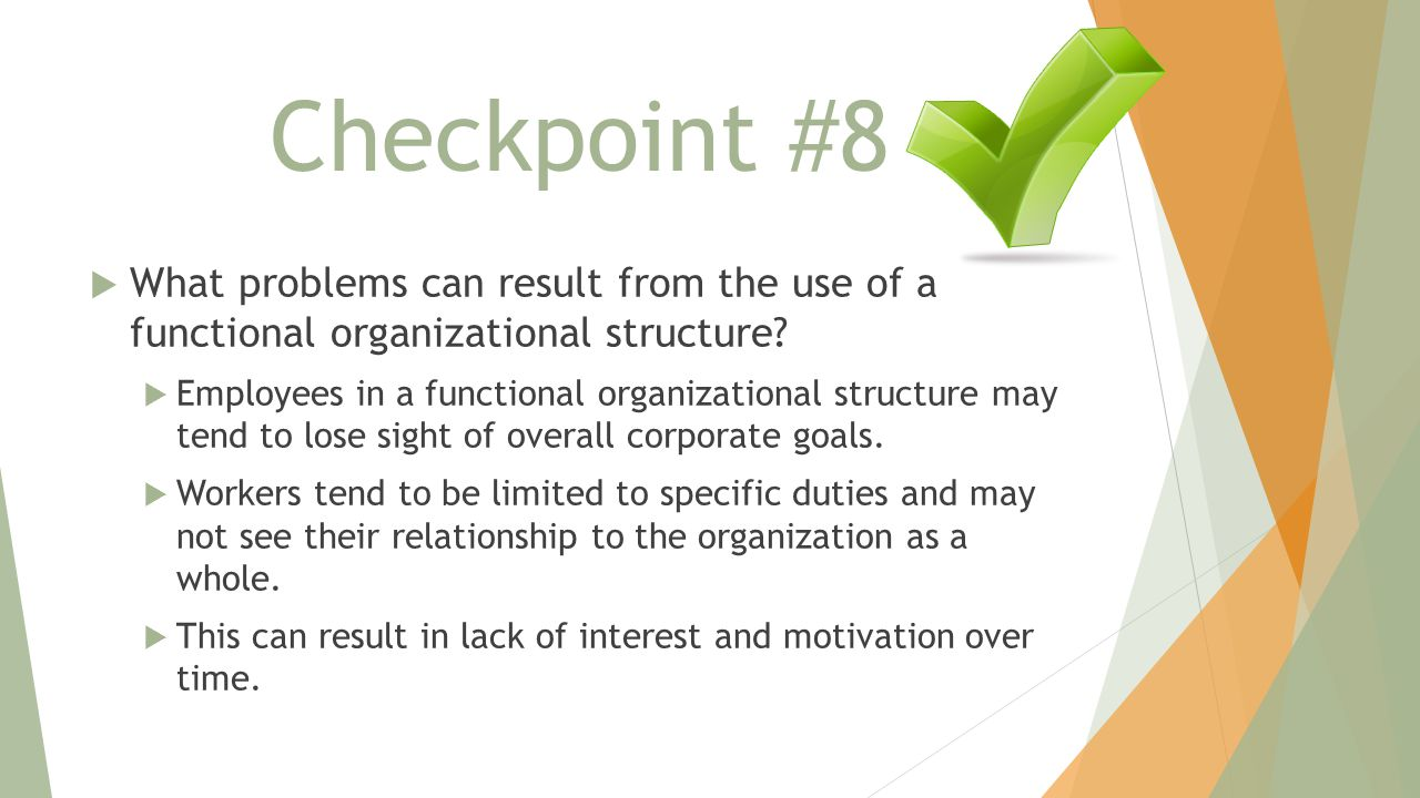 Checkpoint #8  What problems can result from the use of a functional organizational structure.