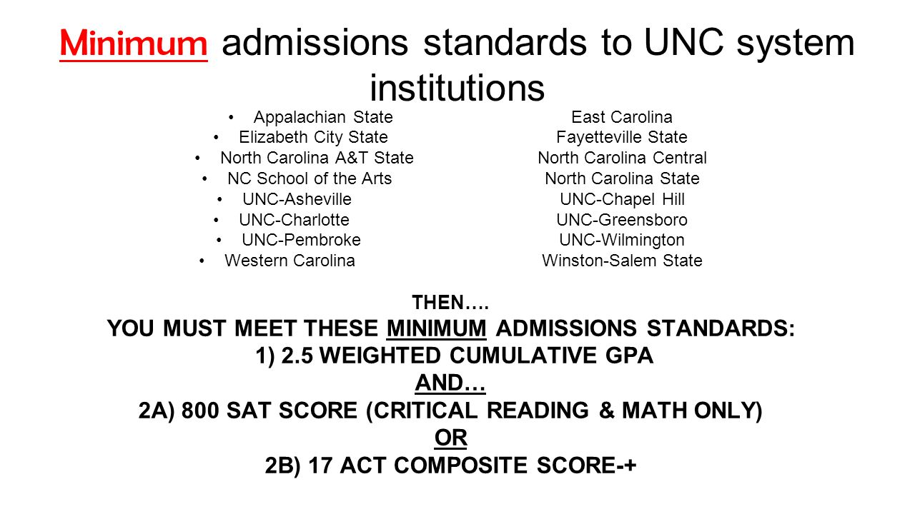Minimum admissions standards to UNC system institutions Appalachian State East Carolina Elizabeth City State Fayetteville State North Carolina A&T StateNorth Carolina Central NC School of the ArtsNorth Carolina State UNC-AshevilleUNC-Chapel Hill UNC-CharlotteUNC-Greensboro UNC-PembrokeUNC-Wilmington Western CarolinaWinston-Salem State THEN….