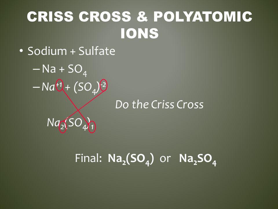 CRISS CROSS & POLYATOMIC IONS Sodium + Sulfate – Na + SO 4 – Na +1 + (SO 4 ) -2 Do the Criss Cross Na 2 (SO 4 ) 1 Final: Na 2 (SO 4 ) or Na 2 SO 4