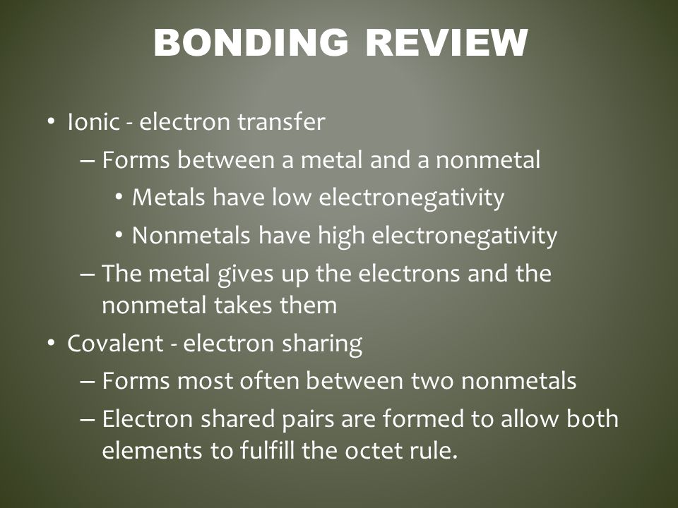 BONDING REVIEW Ionic - electron transfer – Forms between a metal and a nonmetal Metals have low electronegativity Nonmetals have high electronegativit