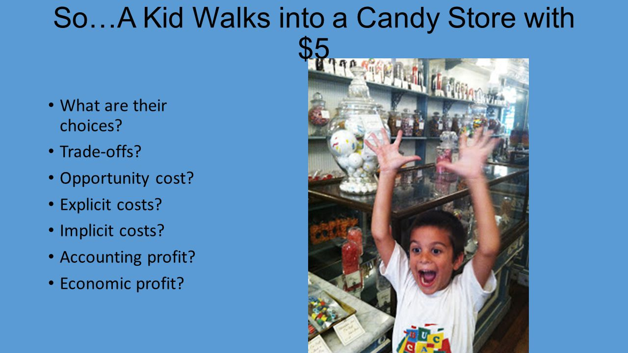 So…A Kid Walks into a Candy Store with $5 What are their choices.