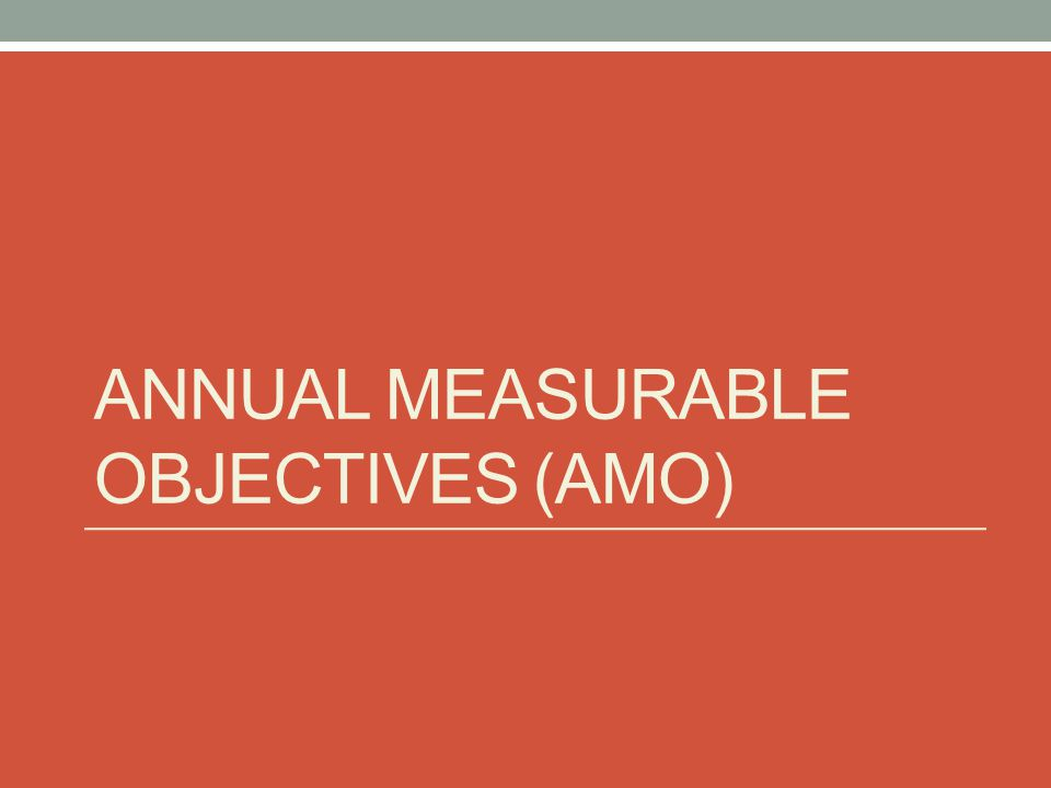 ANNUAL MEASURABLE OBJECTIVES (AMO)