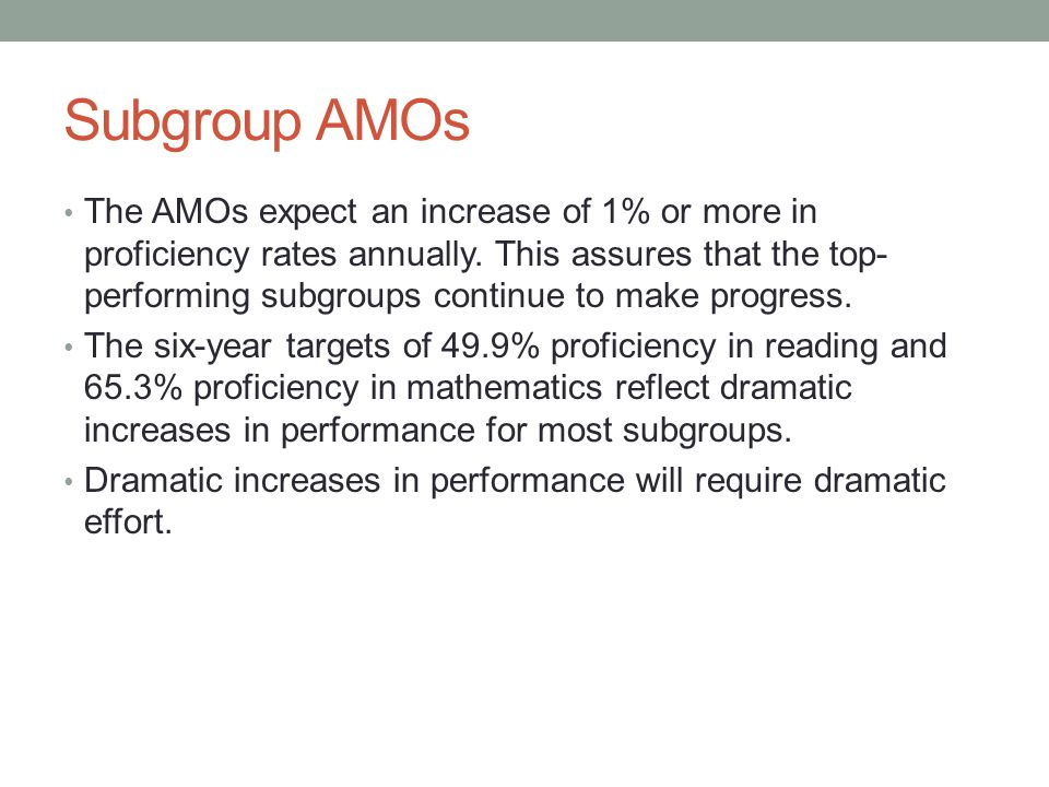 Subgroup AMOs The AMOs expect an increase of 1% or more in proficiency rates annually. This assures that the top- performing subgroups continue to mak