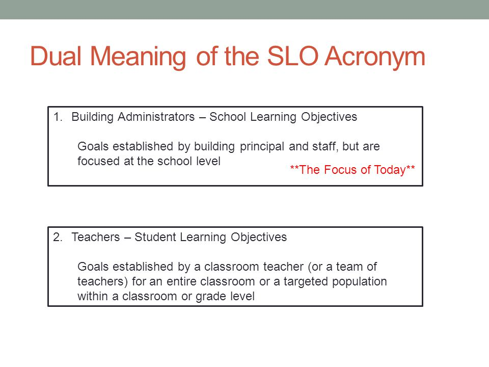 Definition Student/School Learning Objectives (SLOs) are detailed, measurable goals for student academic growth to be achieved in a specific period of time (typically an academic year), and based upon prior student learning data.