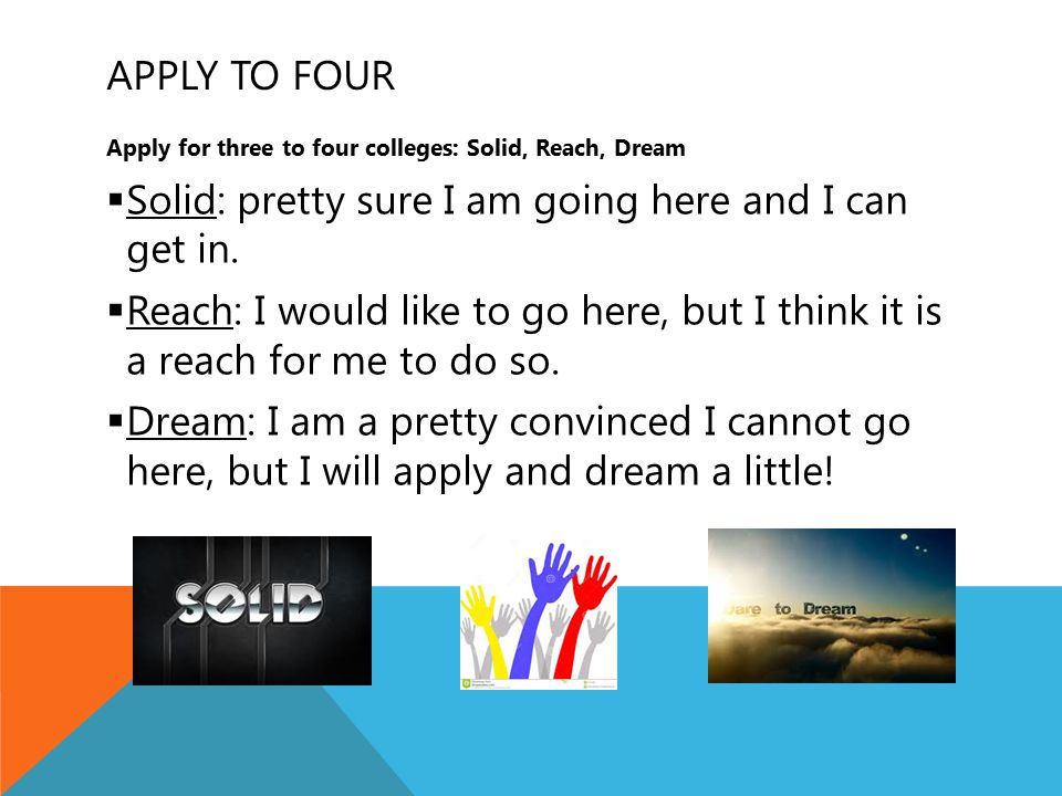 APPLY TO FOUR Apply for three to four colleges: Solid, Reach, Dream  Solid: pretty sure I am going here and I can get in.  Reach: I would like to go