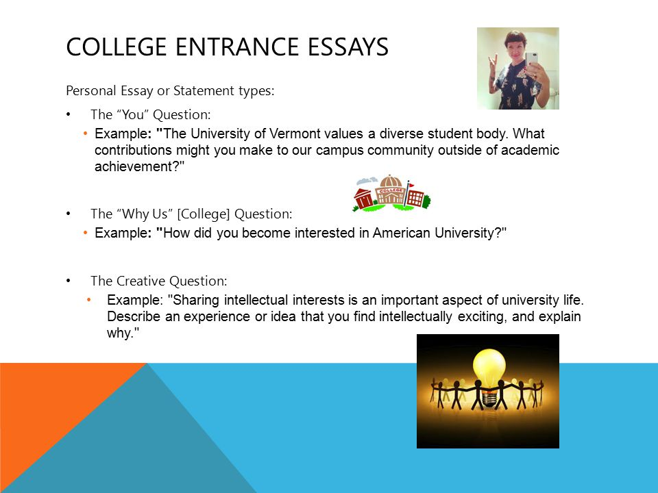 COLLEGE ENTRANCE ESSAYS 2 See paper for pitfalls and ideas about the 3 types of essays: Get an essay reviewer: Parent or family member Trusted teacher, usually in the English department Counselor Admissions professional Allow time for feedback Don't take feedback too personally Re-write if you think you need to.
