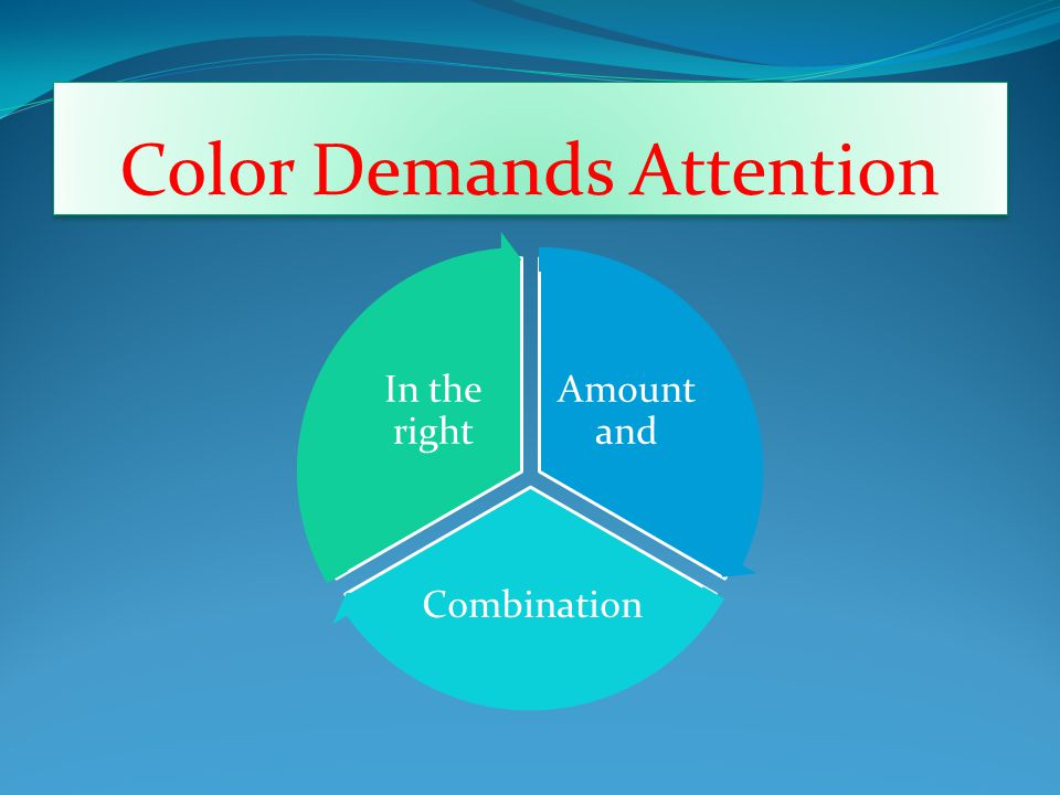Color Demands Attention Amount and Combination In the right