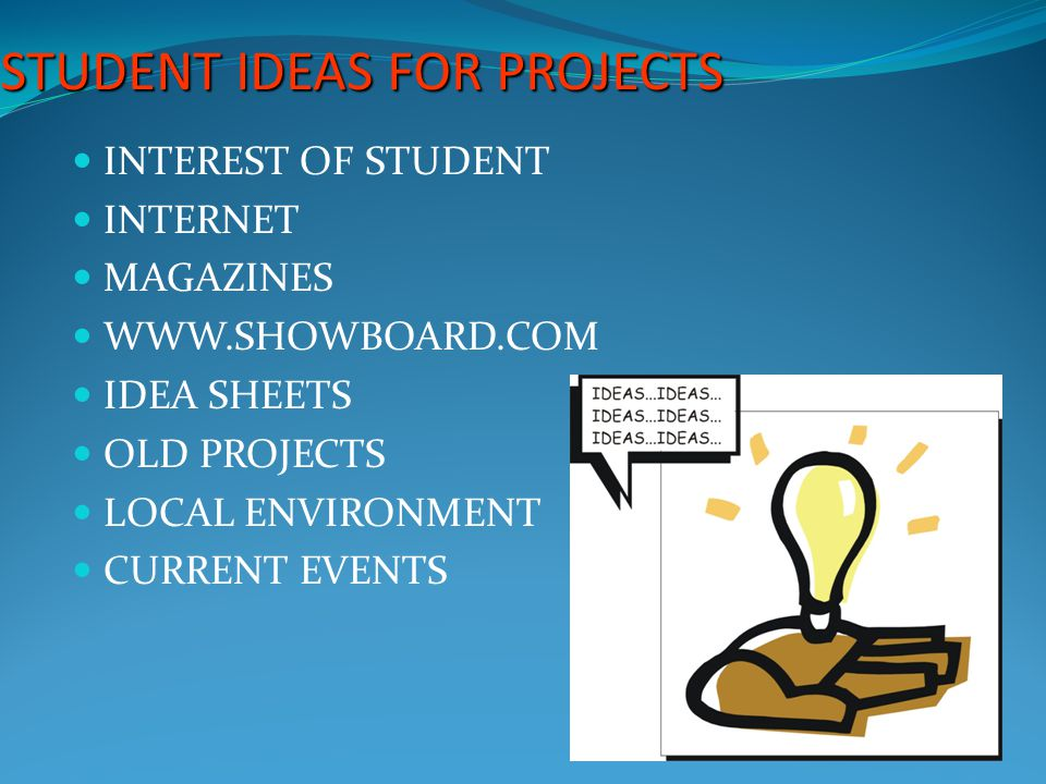 STUDENT IDEAS FOR PROJECTS INTEREST OF STUDENT INTERNET MAGAZINES WWW.SHOWBOARD.COM IDEA SHEETS OLD PROJECTS LOCAL ENVIRONMENT CURRENT EVENTS