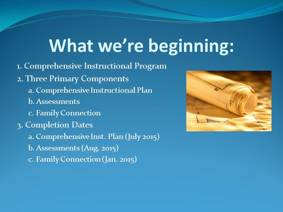 What we're beginning: 1. Comprehensive Instructional Program 2.