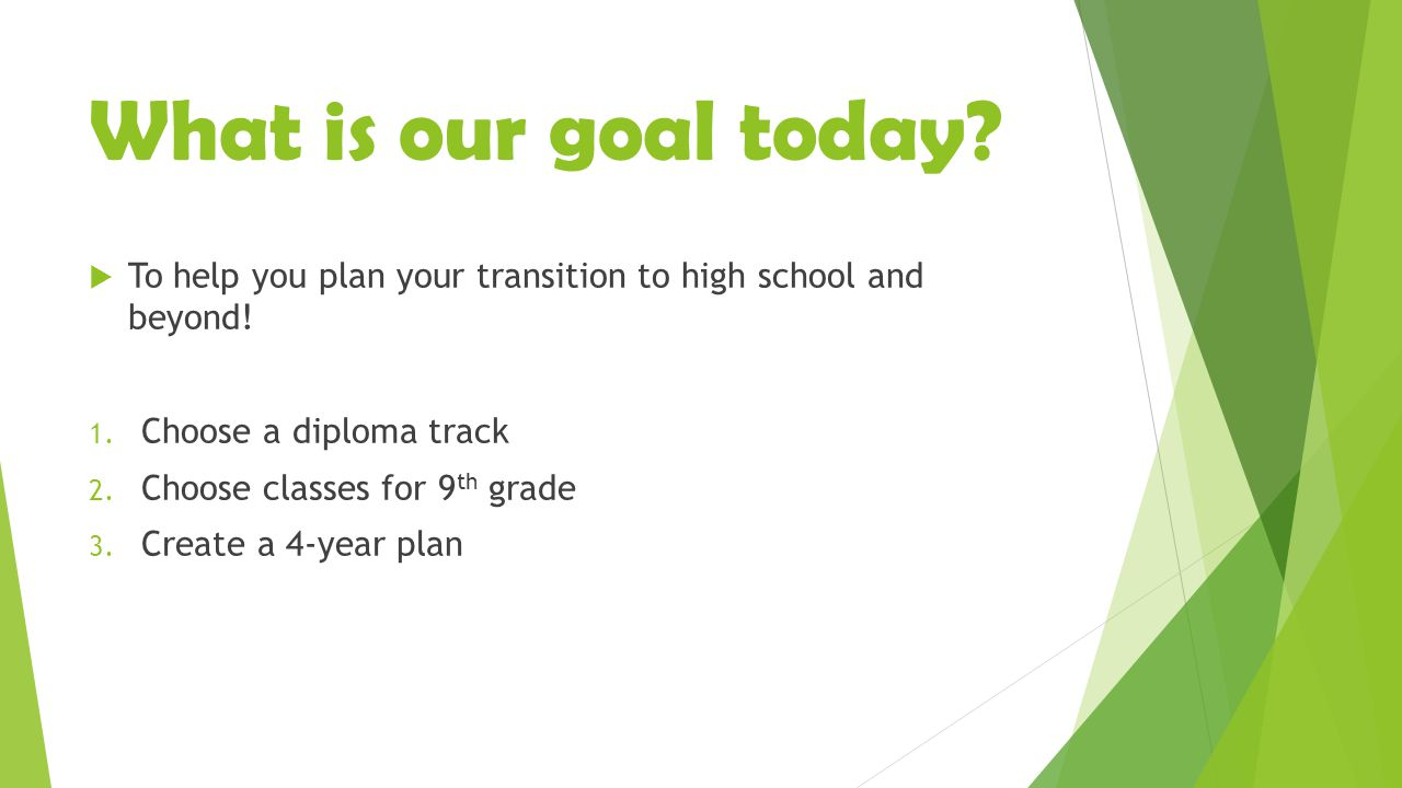 What is our goal today.  To help you plan your transition to high school and beyond.