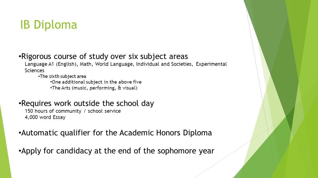 IB Diploma Rigorous course of study over six subject areas Language A1 (English), Math, World Language, Individual and Societies, Experimental Science