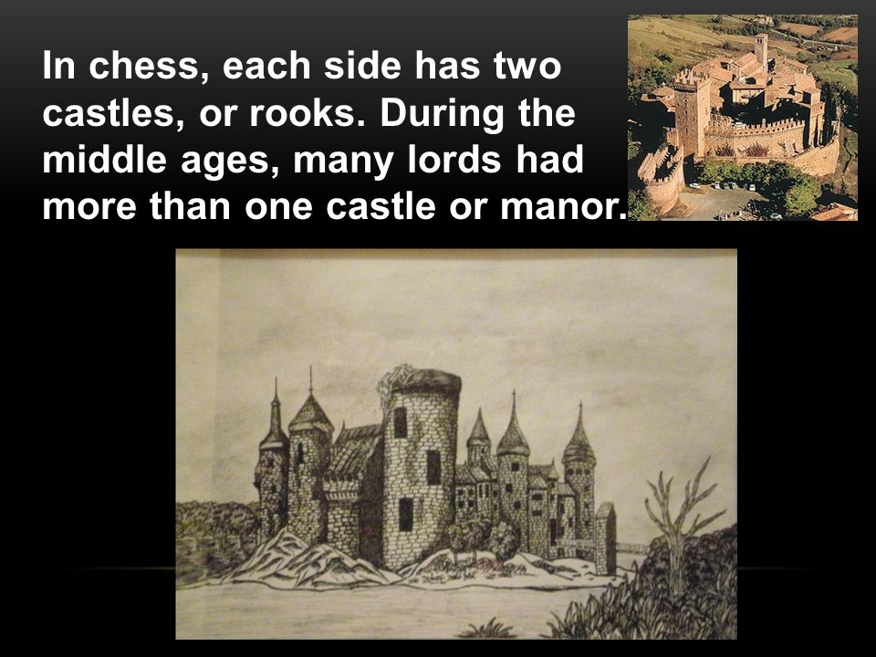 In chess, each side has two castles, or rooks.