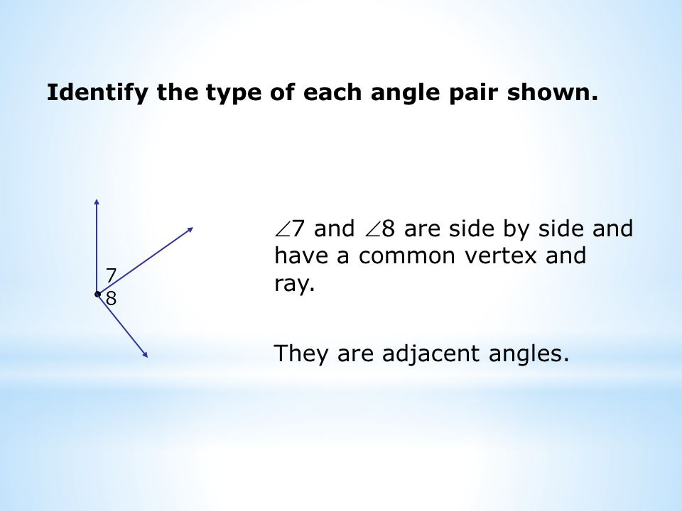 Identify the type of each angle pair shown.