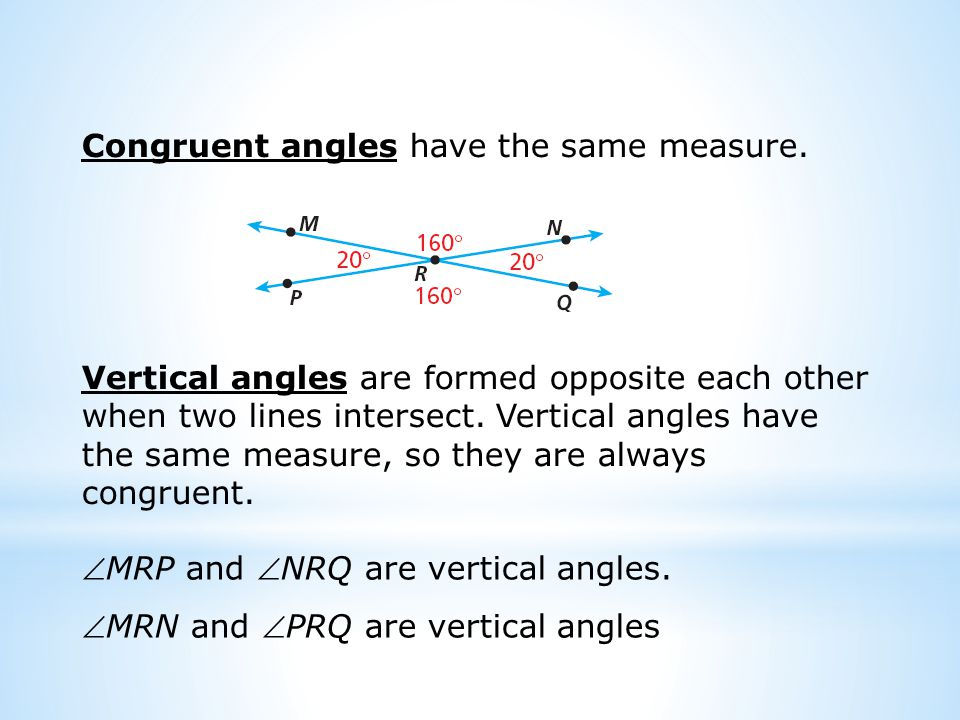 Congruent angles have the same measure.