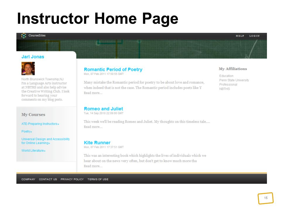 15 Instructor Home Page