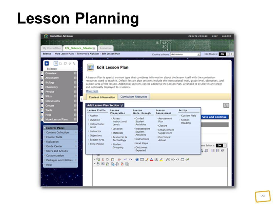 20 Lesson Planning