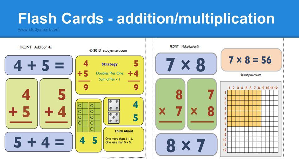 Flash Cards - addition/multiplication www.studysmart.com
