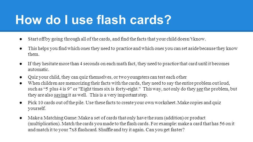 How do I use flash cards.